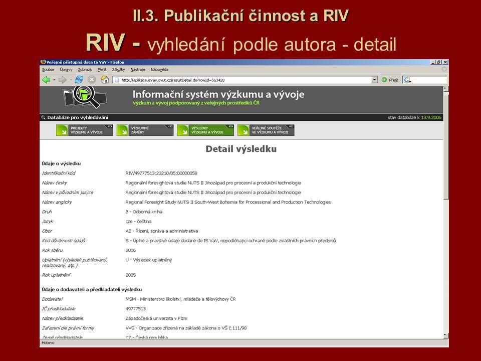 II.3. Publikační činnost a RIV RIV - vyhledání podle autora - detail
