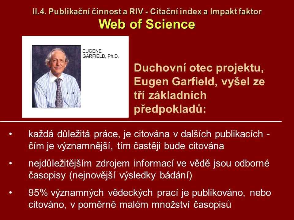 II.4. Publikační činnost a RIV - Citační index a Impakt faktor Web of Science