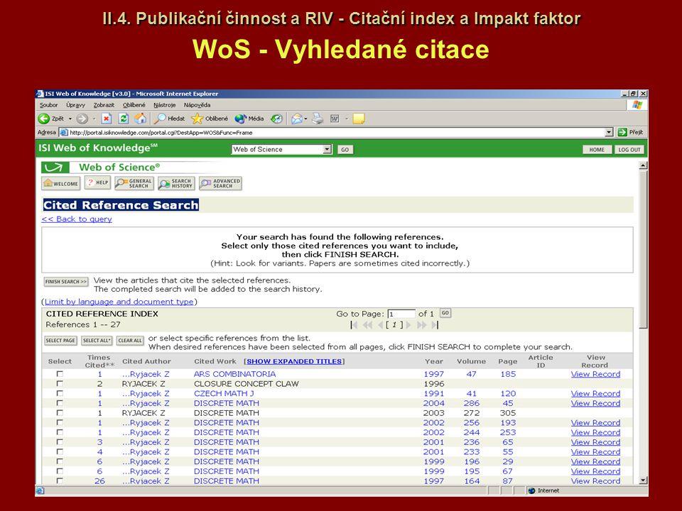 II.4. Publikační činnost a RIV - Citační index a Impakt faktor WoS - Vyhledané citace
