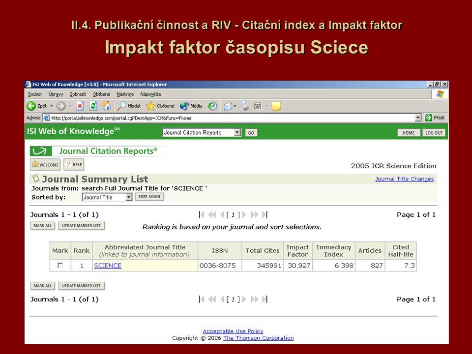 II.4. Publikační činnost a RIV - Citační index a Impakt faktor Impakt faktor časopisu Sciece