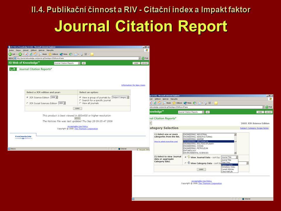 II.4. Publikační činnost a RIV - Citační index a Impakt faktor Journal Citation Report