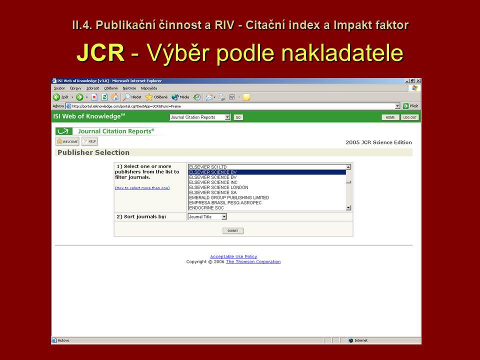 II.4. Publikační činnost a RIV - Citační index a Impakt faktor JCR - Výběr podle nakladatele
