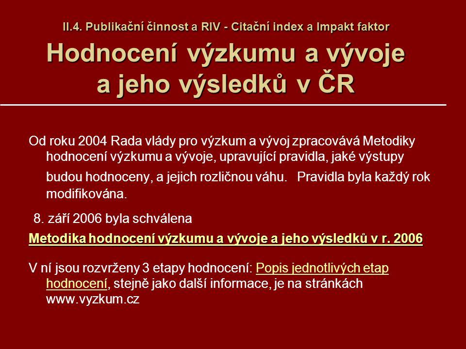 II.4. Publikační činnost a RIV - Citační index a Impakt faktor Hodnocení výzkumu a vývoje a jeho výsledků v ČR