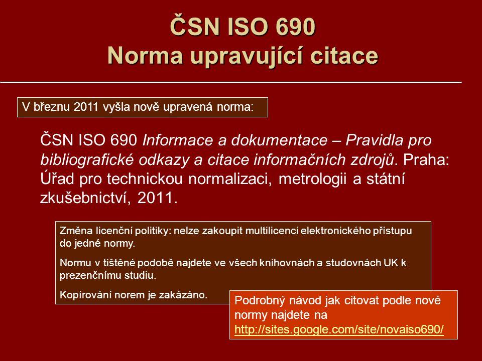 ČSN ISO 690 Norma upravující citace