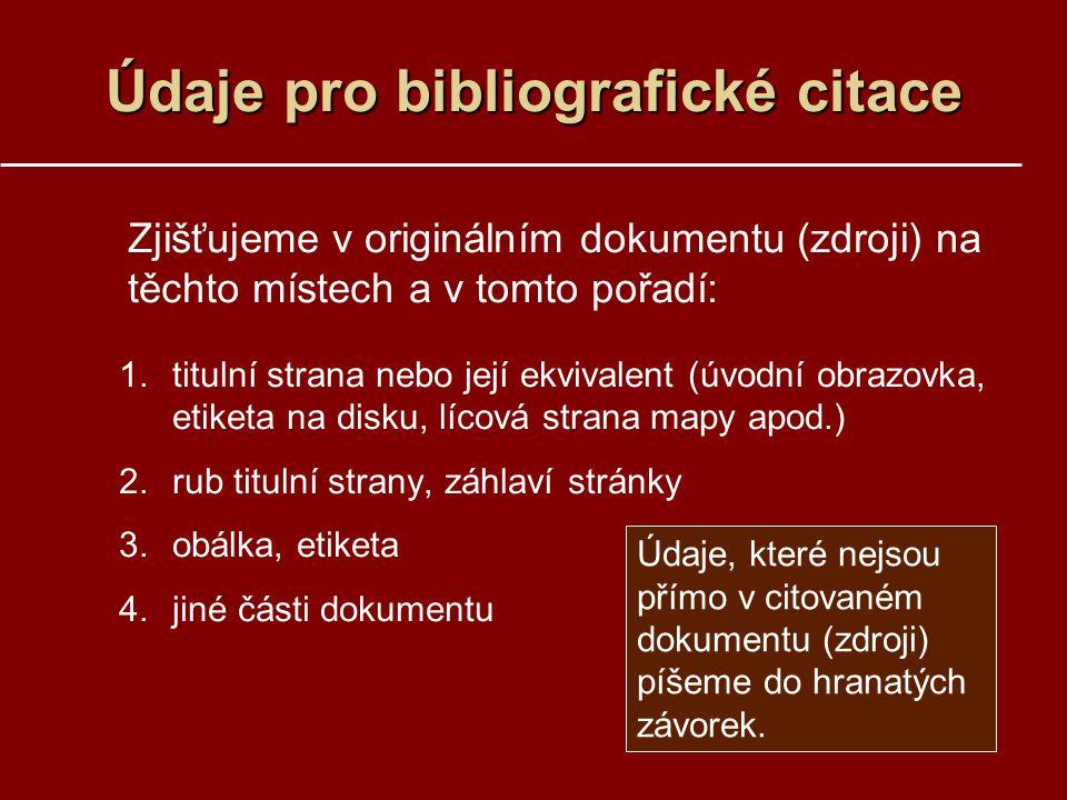 Údaje pro bibliografické citace