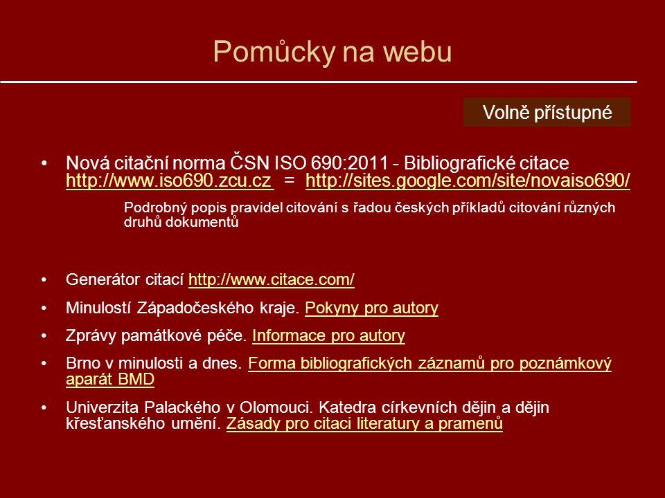 Pomůcky na webu Volně přístupné
