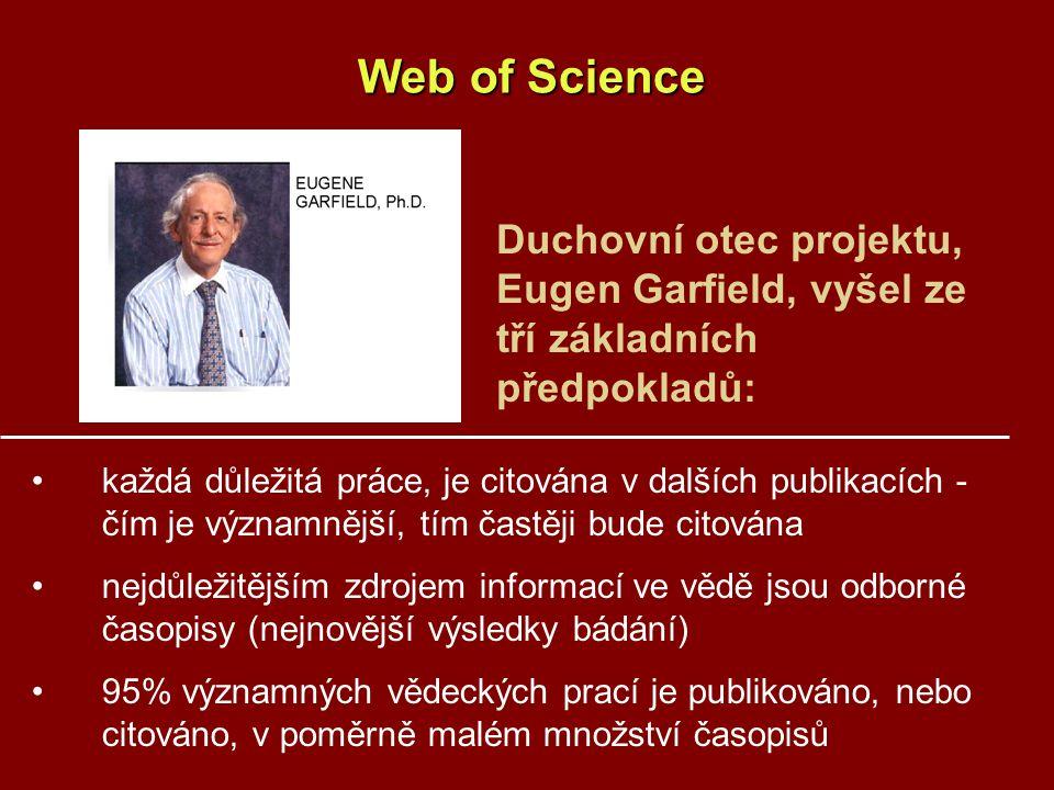 Web of Science Duchovní otec projektu, Eugen Garfield, vyšel ze tří základních předpokladů:
