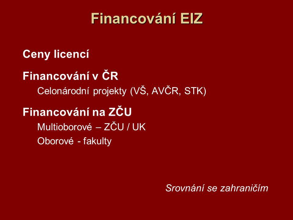 Financování EIZ Ceny licencí Financování v ČR Financování na ZČU