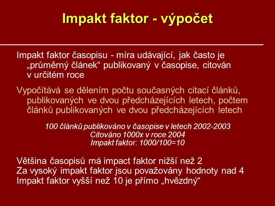 Impakt faktor - výpočet