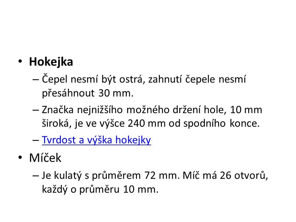 Hokejka Čepel nesmí být ostrá, zahnutí čepele nesmí přesáhnout 30 mm.