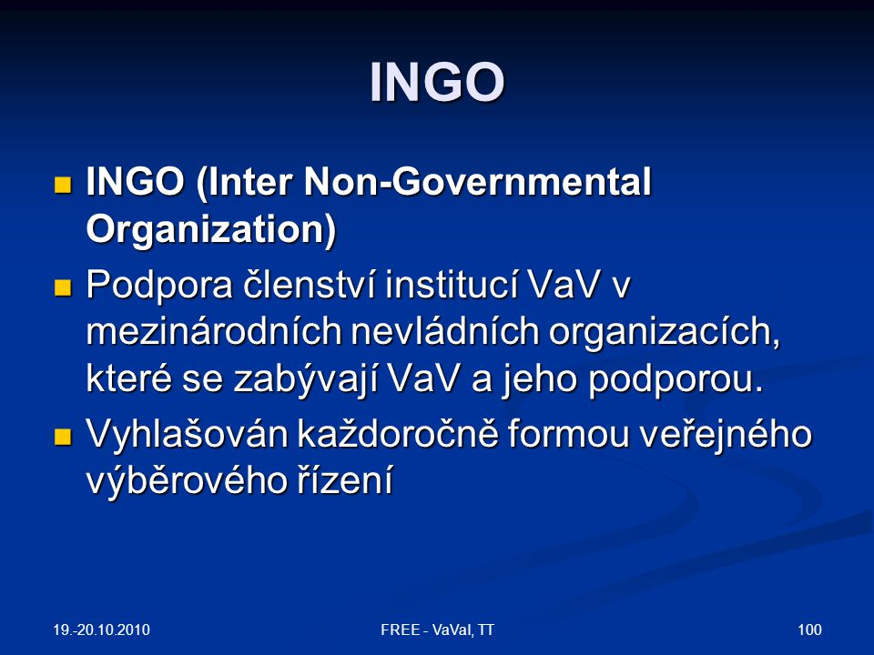 INGO INGO (Inter Non-Governmental Organization)