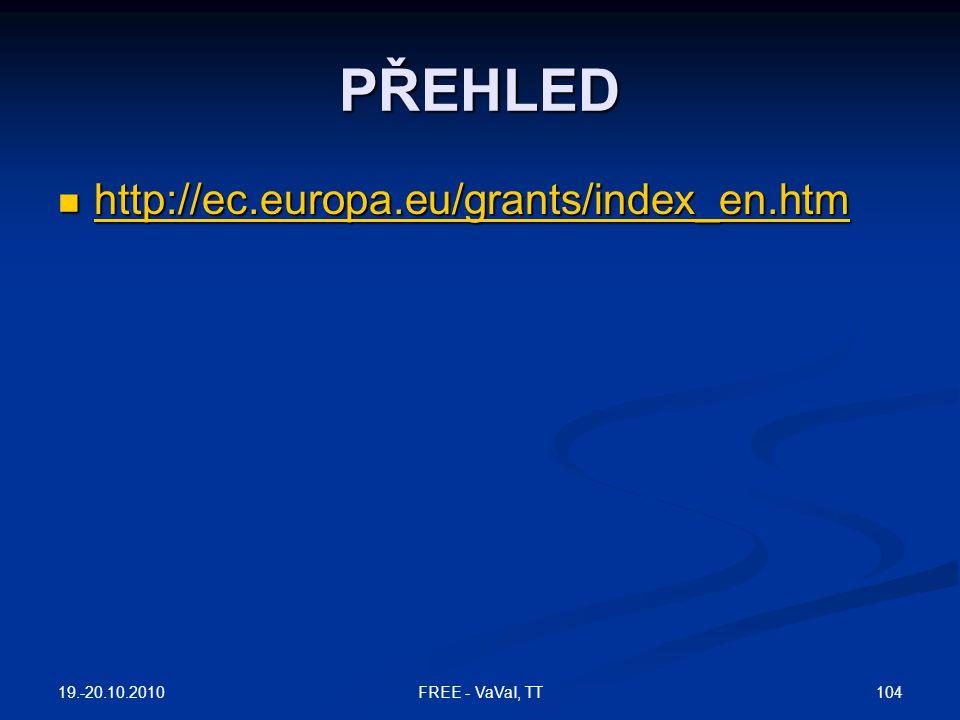 PŘEHLED http://ec.europa.eu/grants/index_en.htm 19.-20.10.2010