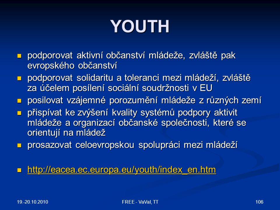 YOUTH podporovat aktivní občanství mládeže, zvláště pak evropského občanství.