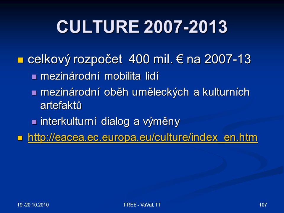 CULTURE 2007-2013 celkový rozpočet 400 mil. € na 2007-13
