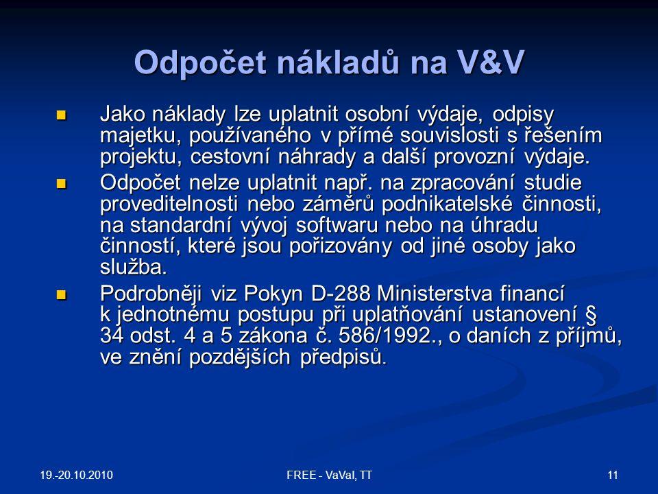 Odpočet nákladů na V&V