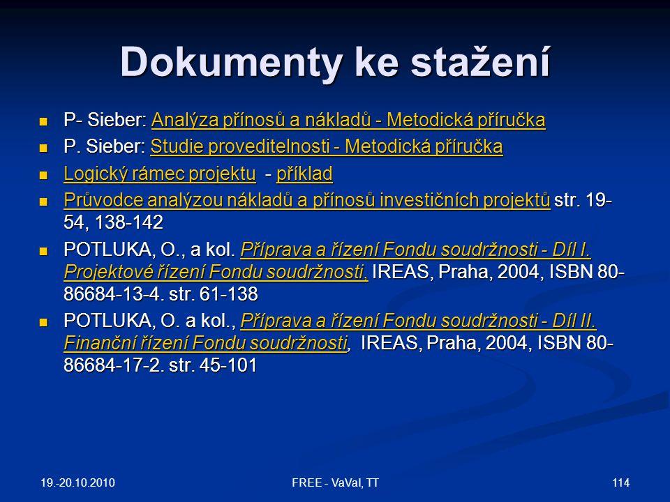 Dokumenty ke stažení P- Sieber: Analýza přínosů a nákladů - Metodická příručka. P. Sieber: Studie proveditelnosti - Metodická příručka.