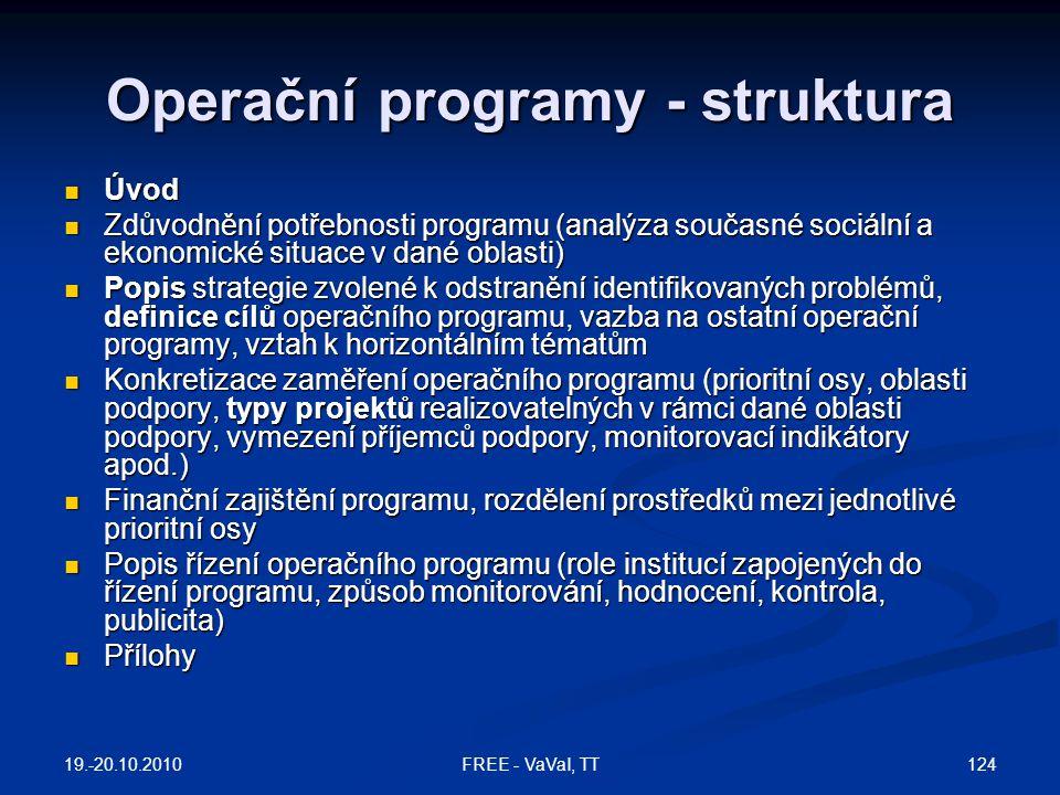 Operační programy - struktura