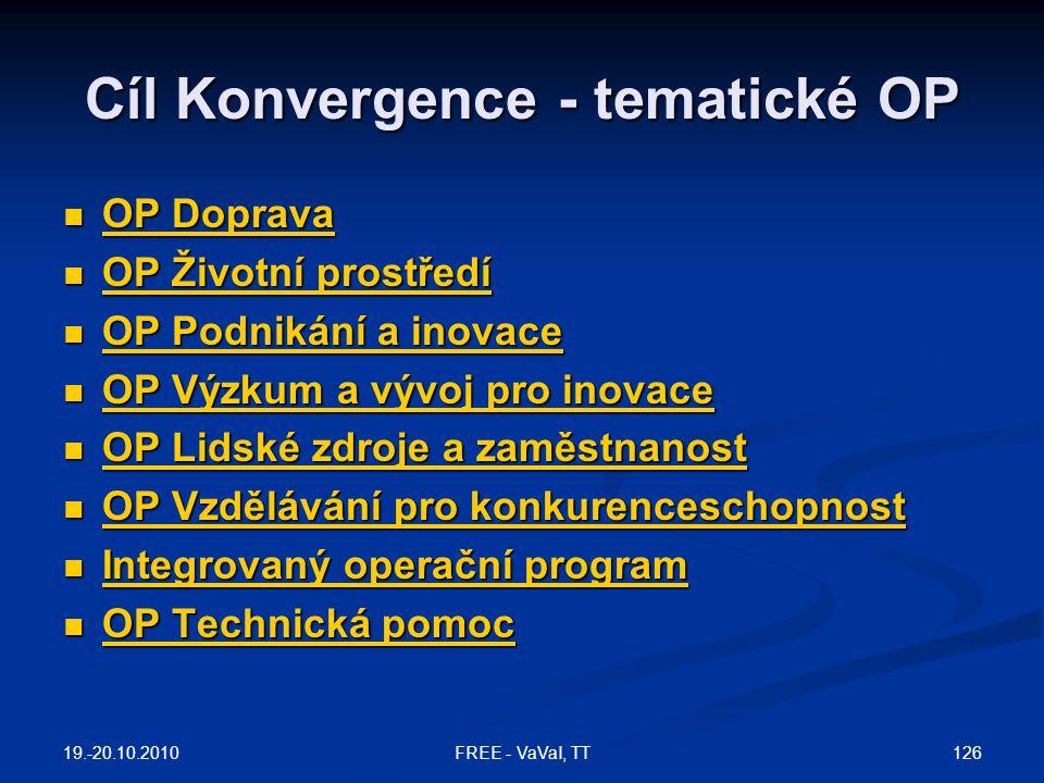 Cíl Konvergence - tematické OP