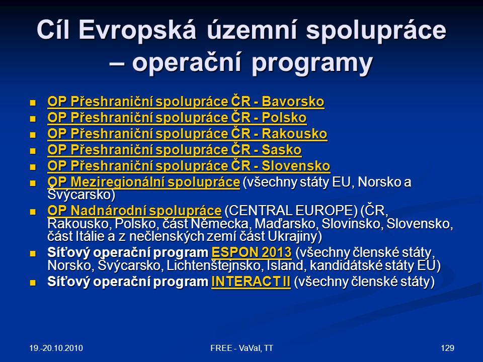 Cíl Evropská územní spolupráce – operační programy