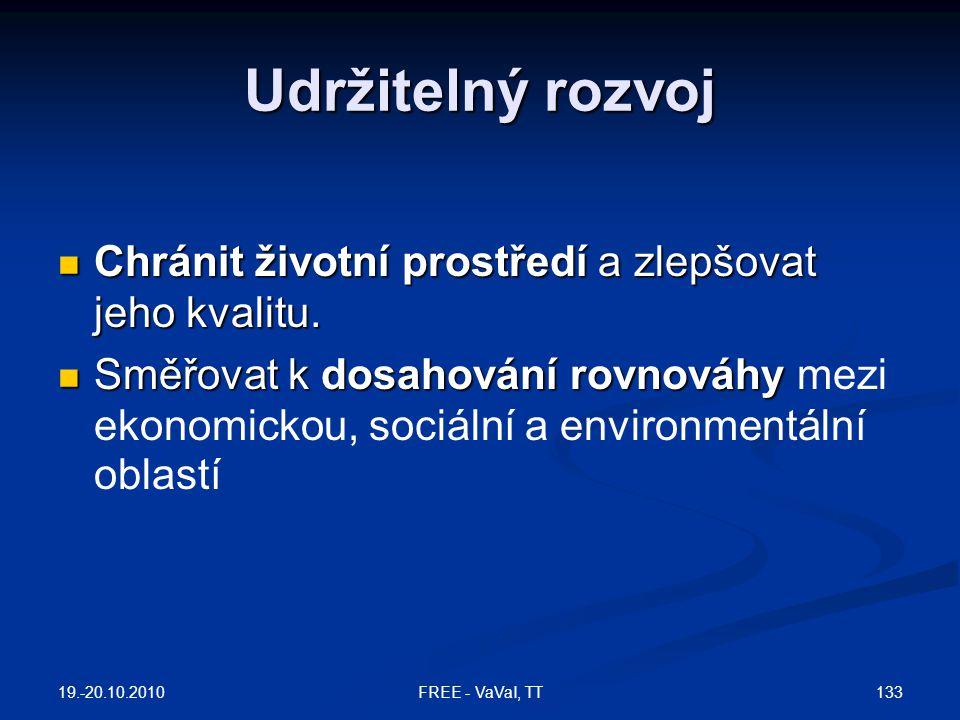 Udržitelný rozvoj Chránit životní prostředí a zlepšovat jeho kvalitu.
