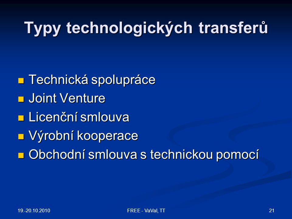 Typy technologických transferů