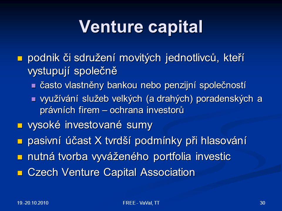 Venture capital podnik či sdružení movitých jednotlivců, kteří vystupují společně. často vlastněny bankou nebo penzijní společností.