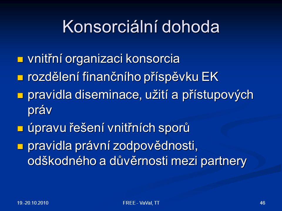 Konsorciální dohoda vnitřní organizaci konsorcia