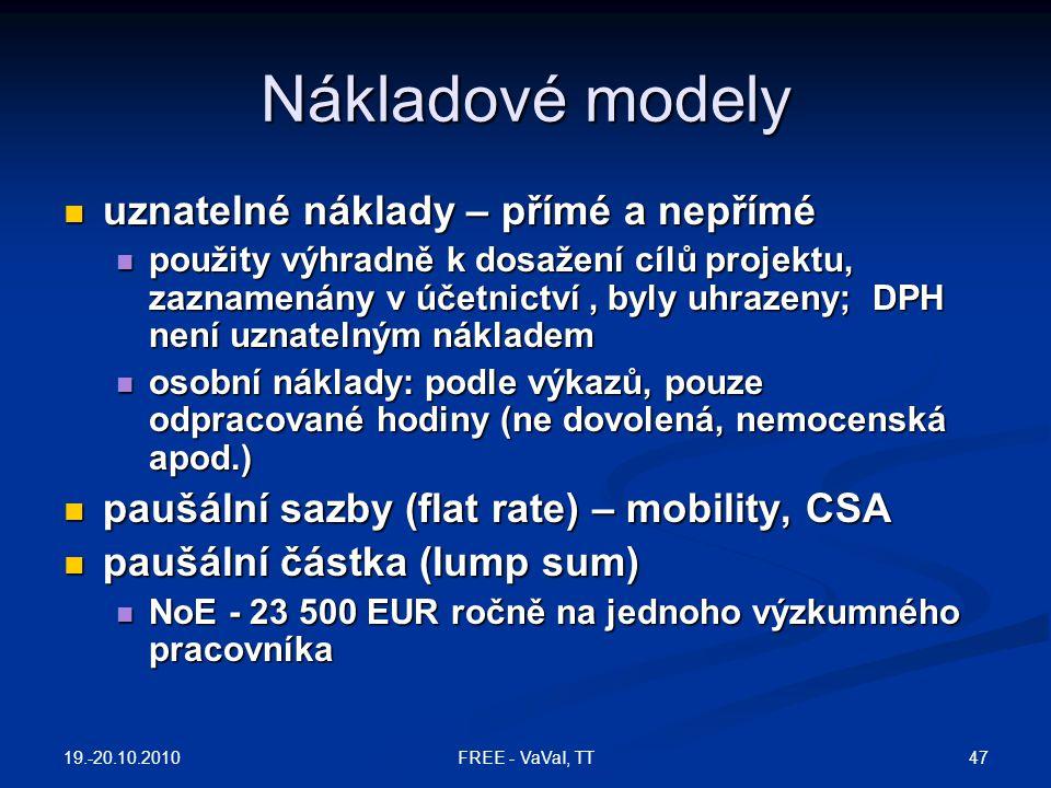 Nákladové modely uznatelné náklady – přímé a nepřímé