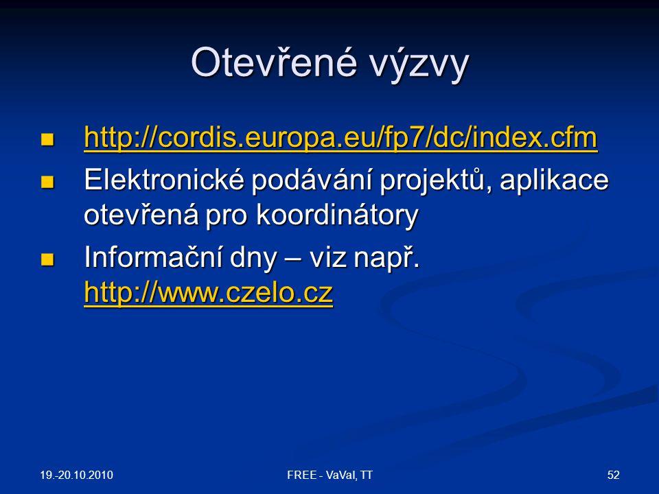 Otevřené výzvy http://cordis.europa.eu/fp7/dc/index.cfm