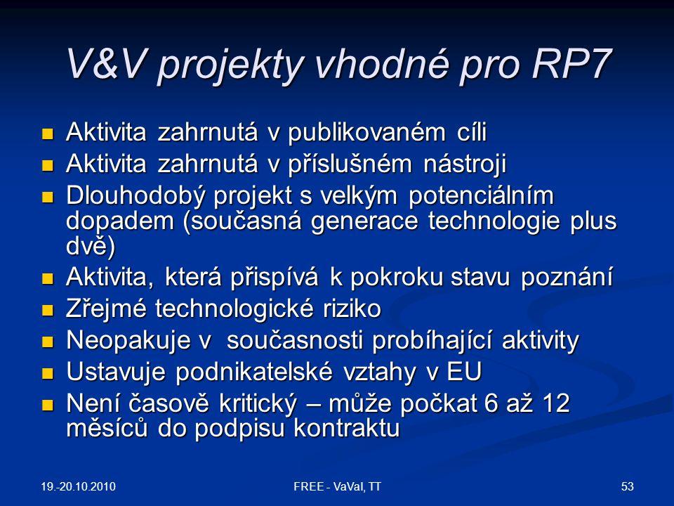 V&V projekty vhodné pro RP7