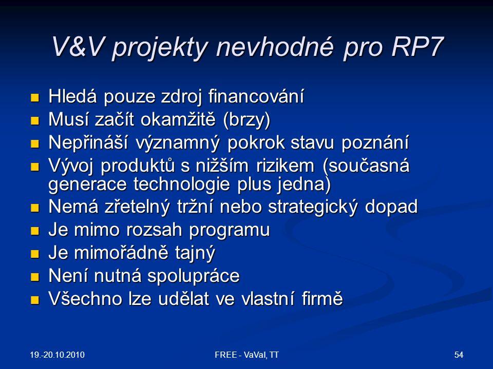 V&V projekty nevhodné pro RP7
