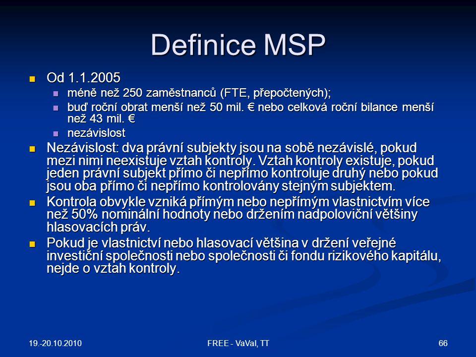Definice MSP Od 1.1.2005. méně než 250 zaměstnanců (FTE, přepočtených);