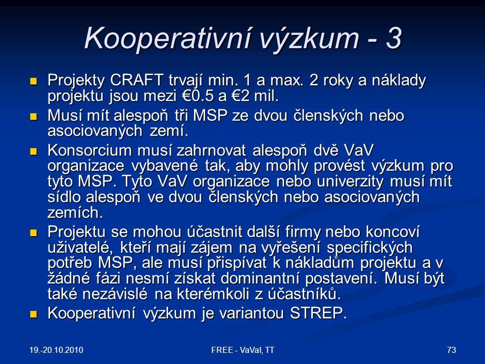 Kooperativní výzkum - 3 Projekty CRAFT trvají min. 1 a max. 2 roky a náklady projektu jsou mezi €0.5 a €2 mil.