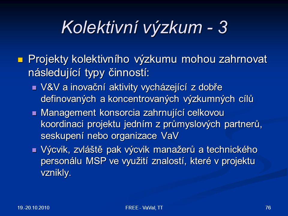 Kolektivní výzkum - 3 Projekty kolektivního výzkumu mohou zahrnovat následující typy činností: