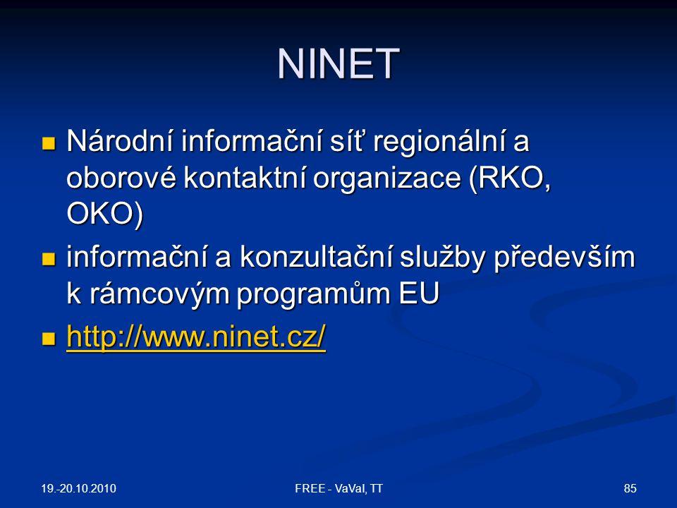 NINET Národní informační síť regionální a oborové kontaktní organizace (RKO, OKO) informační a konzultační služby především k rámcovým programům EU.