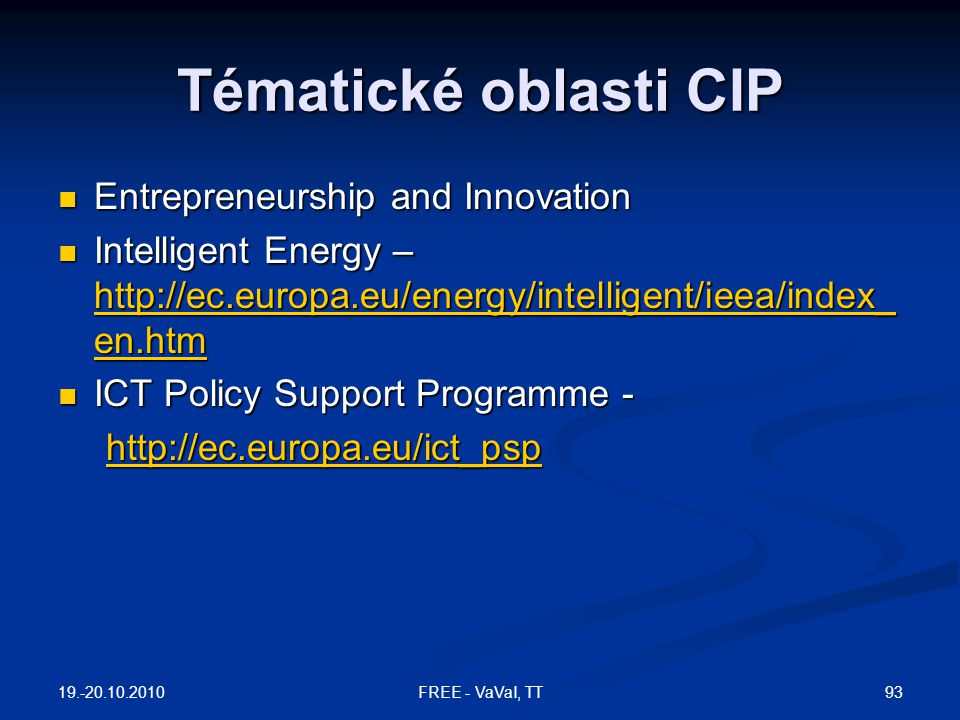 Tématické oblasti CIP Entrepreneurship and Innovation