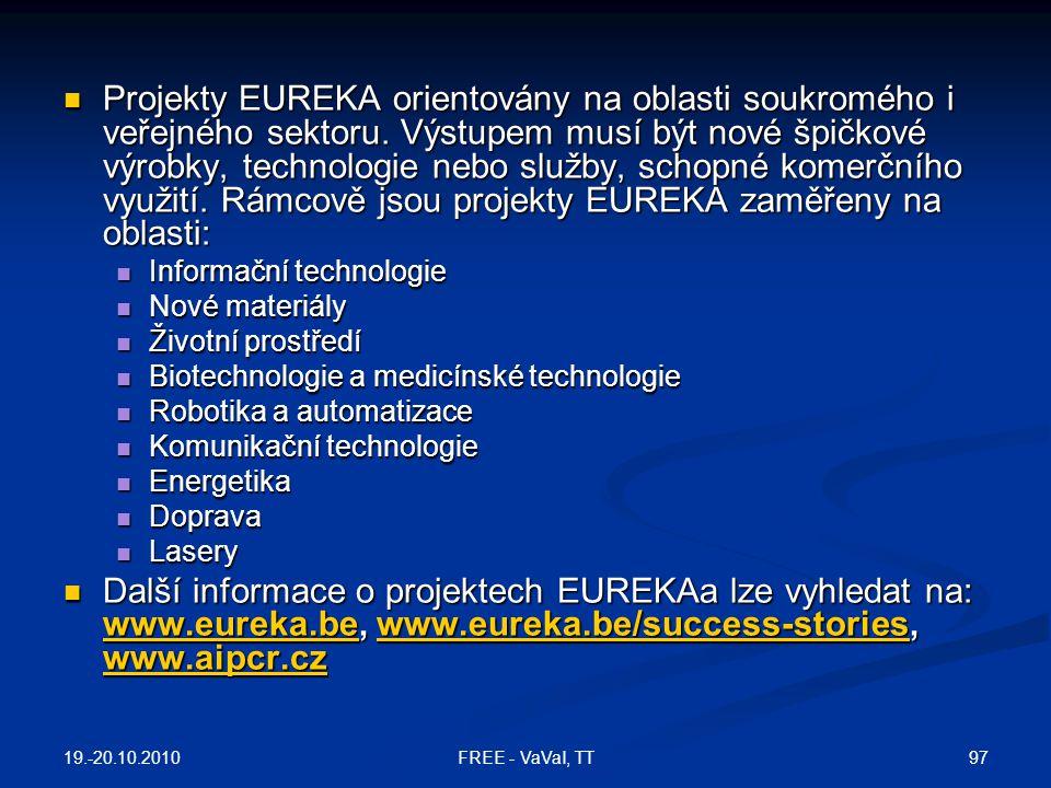 Projekty EUREKA orientovány na oblasti soukromého i veřejného sektoru