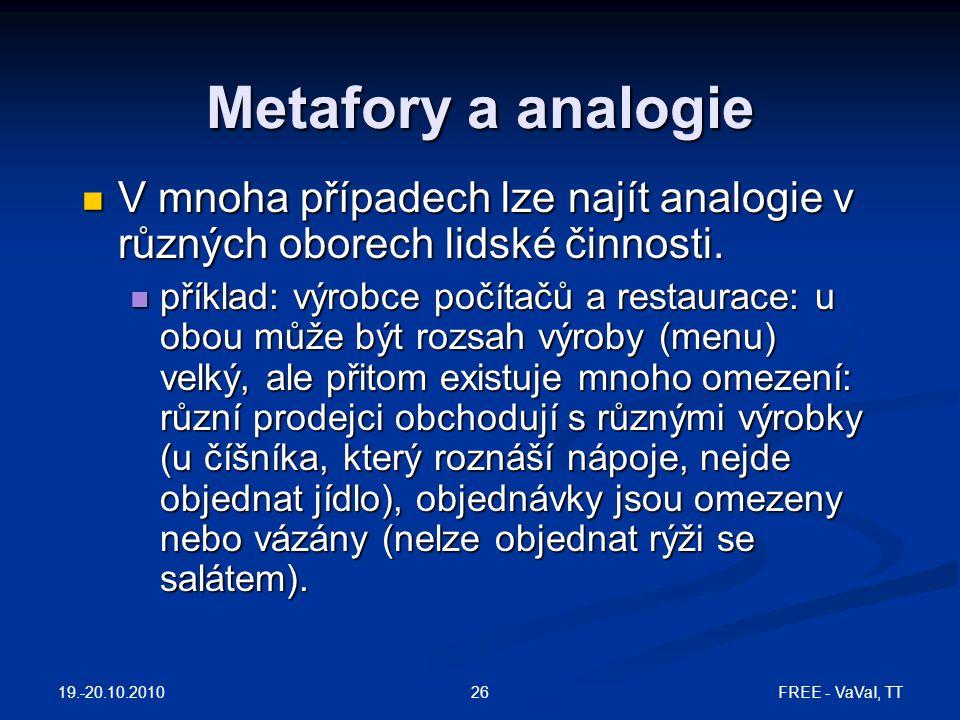 Metafory a analogie V mnoha případech lze najít analogie v různých oborech lidské činnosti.