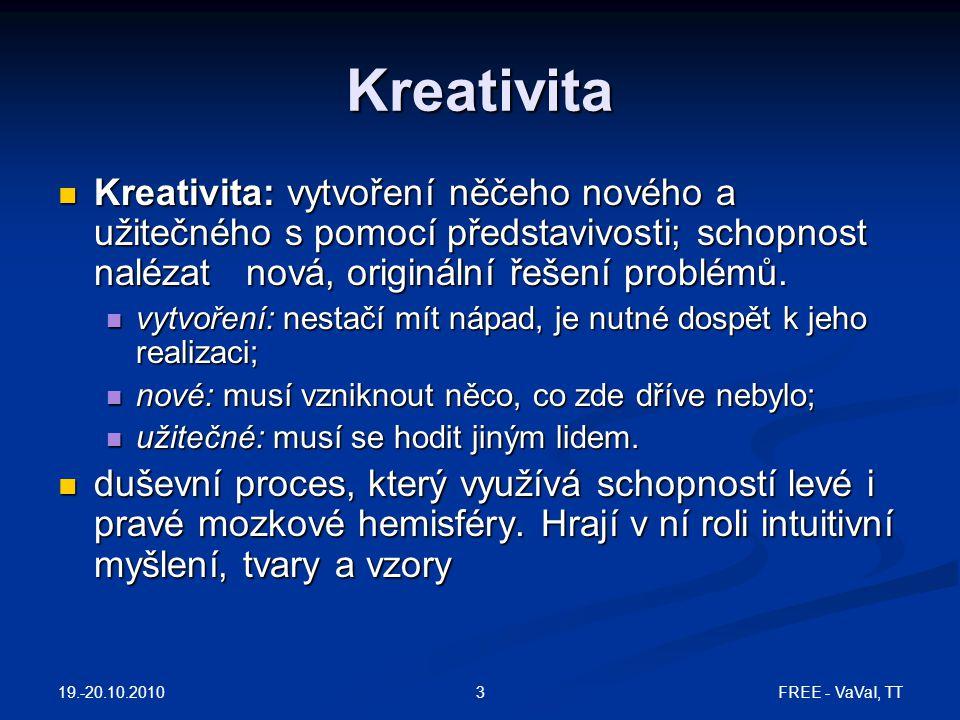 Kreativita Kreativita: vytvoření něčeho nového a užitečného s pomocí představivosti; schopnost nalézat nová, originální řešení problémů.