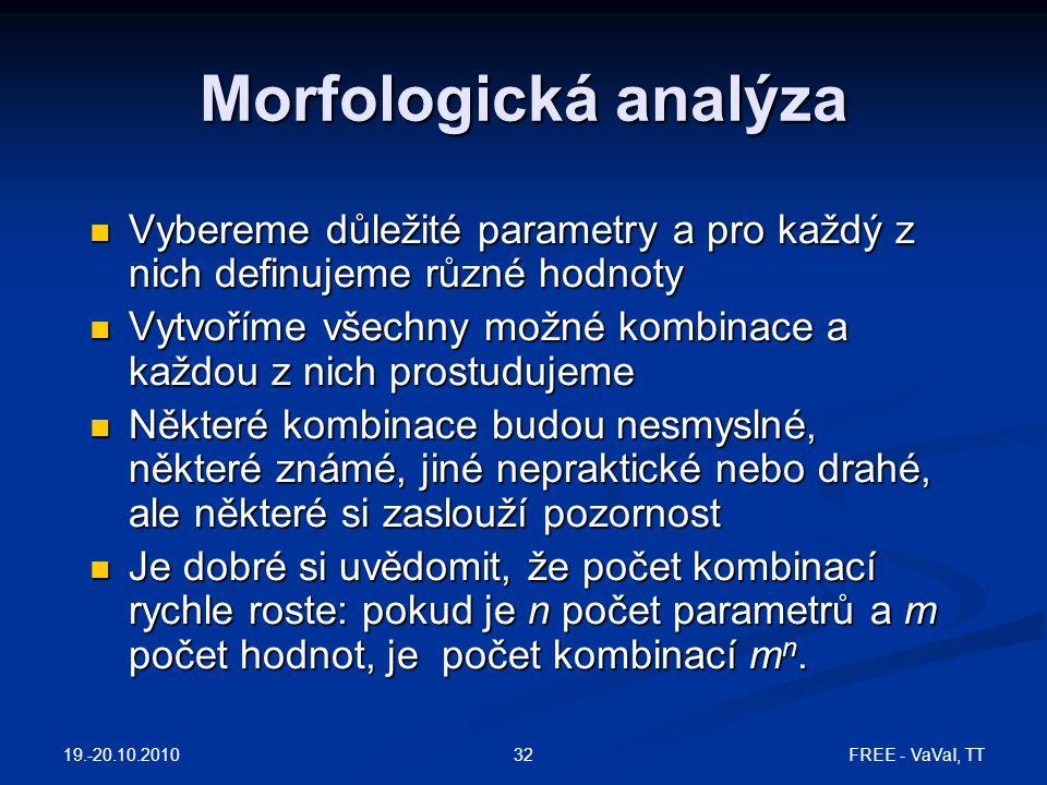 Morfologická analýza Vybereme důležité parametry a pro každý z nich definujeme různé hodnoty.