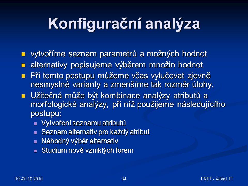 Konfigurační analýza vytvoříme seznam parametrů a možných hodnot