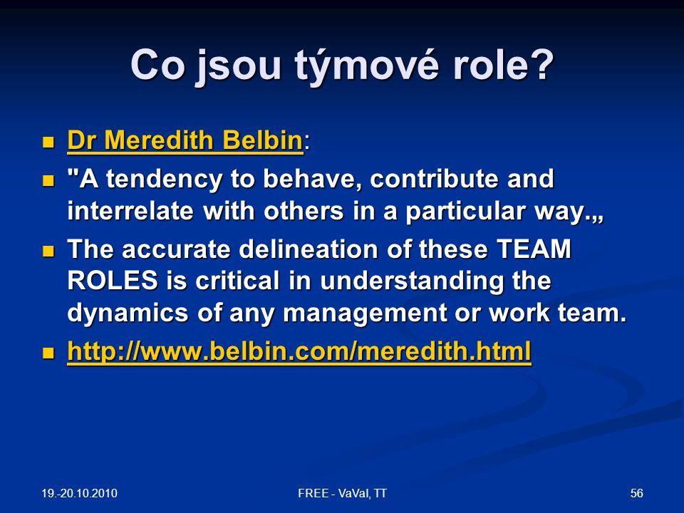 Co jsou týmové role Dr Meredith Belbin: