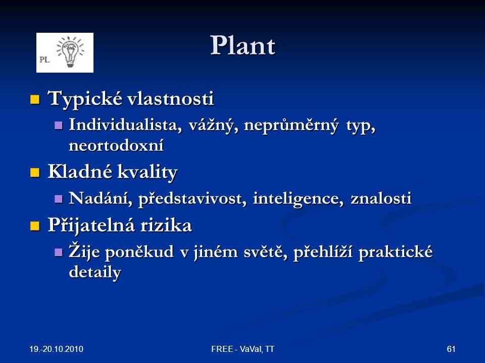Plant Typické vlastnosti Kladné kvality Přijatelná rizika