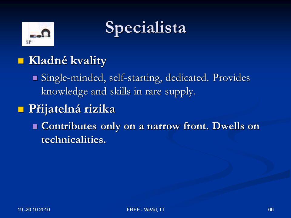 Specialista Kladné kvality Přijatelná rizika