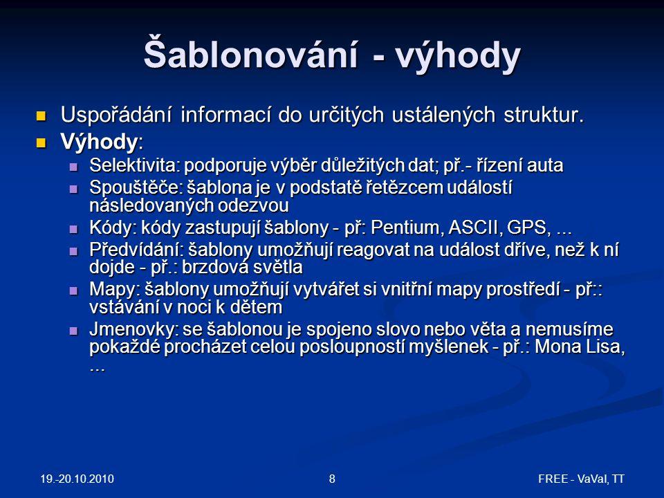 Šablonování - výhody Uspořádání informací do určitých ustálených struktur. Výhody: Selektivita: podporuje výběr důležitých dat; př.- řízení auta.