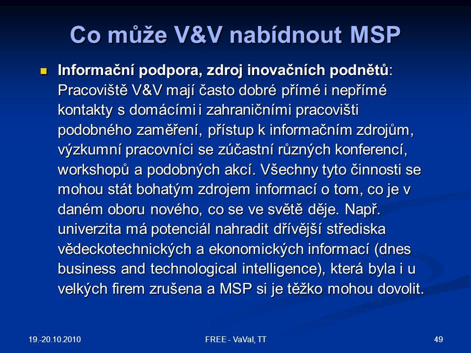 Co může V&V nabídnout MSP