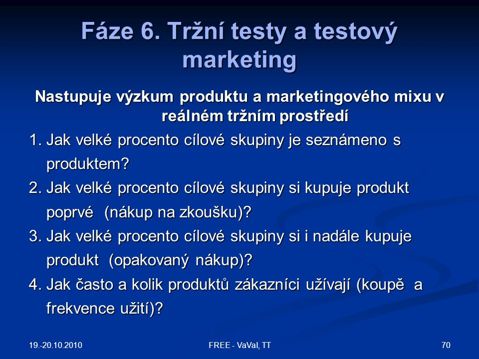 Fáze 6. Tržní testy a testový marketing