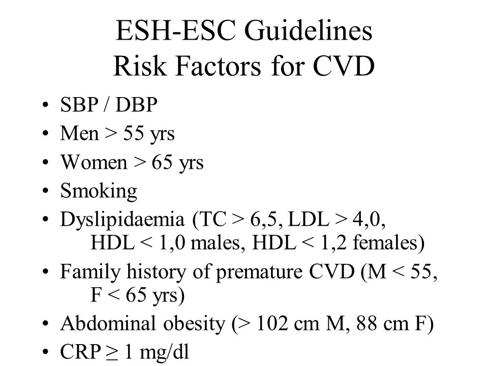 ESH-ESC Guidelines Risk Factors for CVD