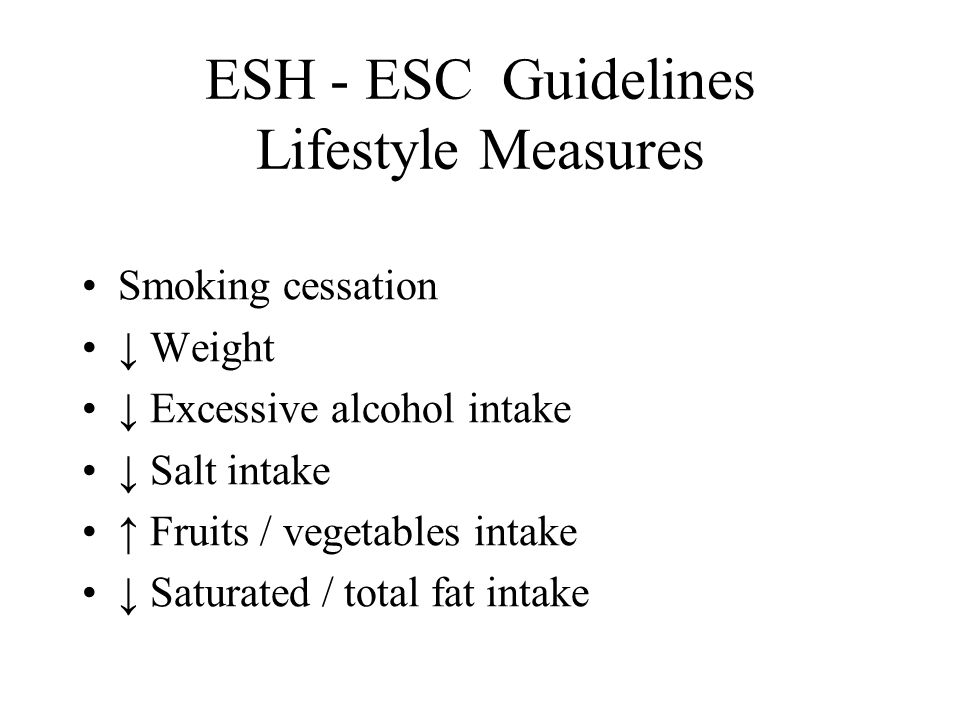 ESH - ESC Guidelines Lifestyle Measures
