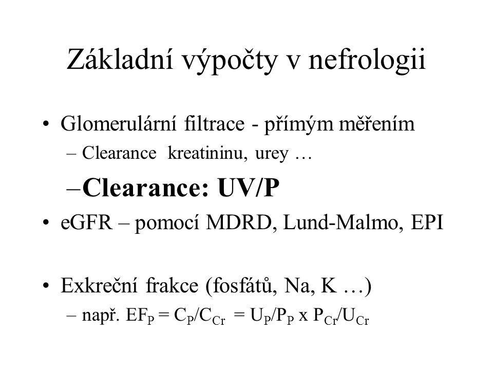 Základní výpočty v nefrologii